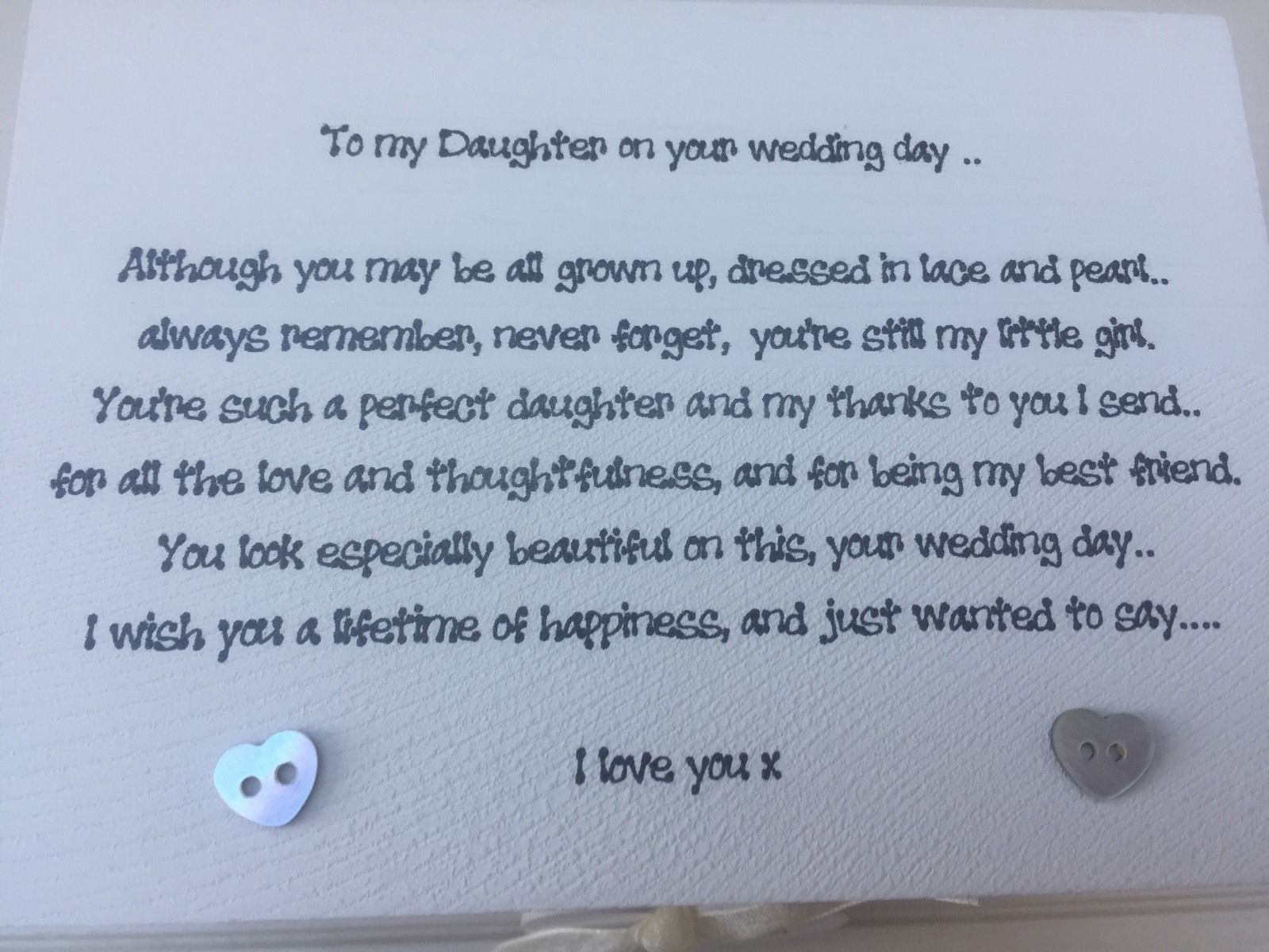 Personalised Chic Daughter On Her Wedding Day Gift Wedding Mother ...